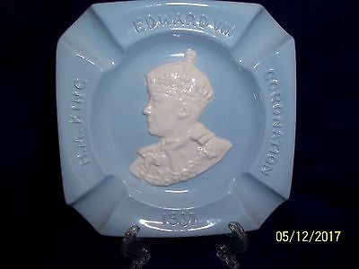 1937 Johnson Bros. Coronation King Edward Viii Greydawn (Blue) & White Ashtray