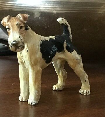 ABSOLUTELY ADORABLE VINTAGE Cast Iron Wire Hair Fox Terrier Airedale Dog