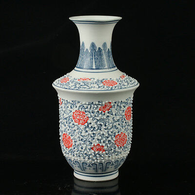 Chinese Porcelain Hand-Painted Flower Vase Mark As The Qianlong Period  R1043.a