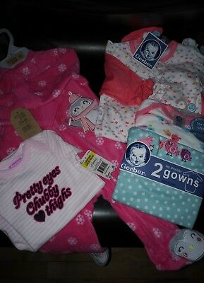 New with Tags Baby Girl 6 Piece Clothing Lot Pink 0-6 Months Chick Pea, Gerber