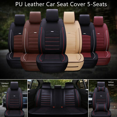 9pcs Car Seat Cover 5 Seats Full Sets PU Leather Front Rear Cushion Pillow Pad