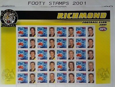 Footy Stamps 2001 Richmond Tigers Football Club 2001 AFL Stamps Sheet