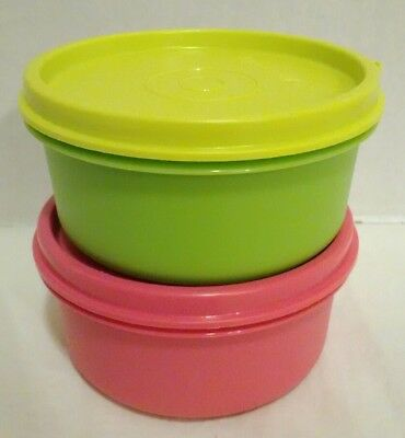 Tupperware Mini Lunch Snack Storage Containers w/ Seals #1321 pink green