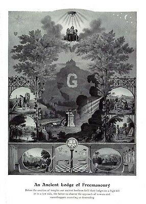 Antique Masonic ANCIENT LODGE OF FREEMASONRY art Poster ring 12x18 chart Print