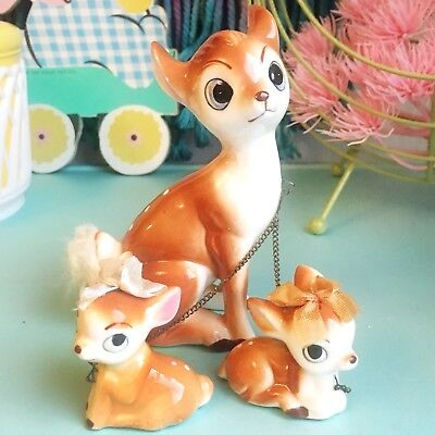 Rare Vintage Ceramic Chained Deer & Fawn Figurines
