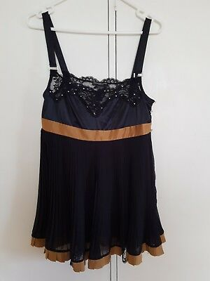 PLEASURE STATE COUTURE Black and Gold Swarovski BABYDOLL CAMISOLE Size M
