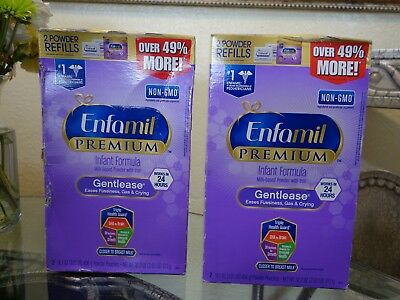 2 Enfamil Premium Gentlease Baby Formula Powder 32.2oz Box Boxes Milk Infant