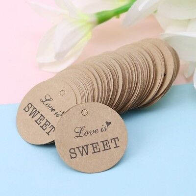 100pcs Kraft Paper Card Tags DIY Wedding Party Decor Thank You Labels Gift Card