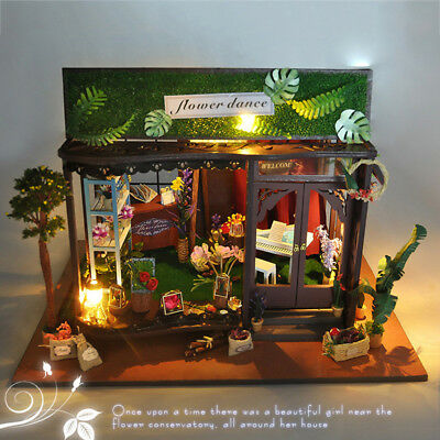 DIY Flower Shop LED Light Dollhouse Miniature Doll House Furniture Kit Toy Gifts