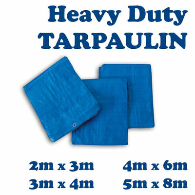 Waterproof Blue Heavy Sheet Cover 4 Tarpaulin Sizes of Strong Ground Duty Tarp