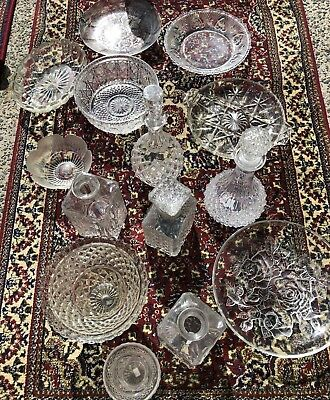 Vintage mixed cut glass platters, vases & decanters