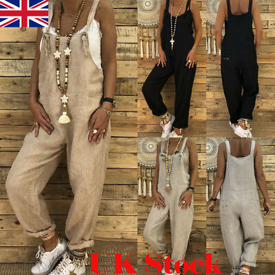 Womens Strap Loose Casual Jumpsuit Dungaree Cotton Linen Overall Trousers Pants