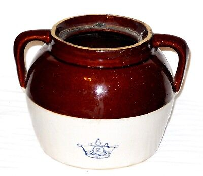 Vintage Blue Crown #2 Stoneware Brown & Cream Crock