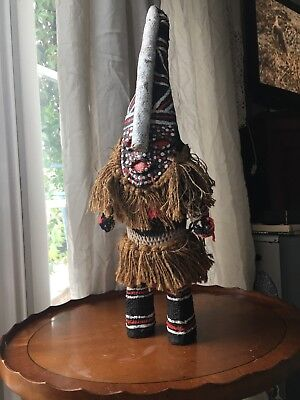 Vintage Authentic Handmade Wooden  Zulu Doll In Witch Doctors Dress