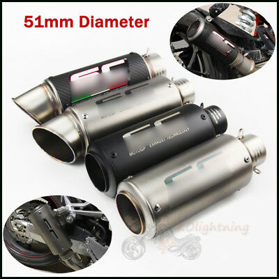 Universal 38-51mm Slip On Exhaust Muffler Tail Pipe No DB Killer For Motorcycle