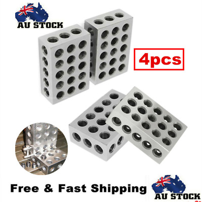"2 Pairs 1-2-3 Blocks Set 0.0001"" Precision Matched Mill Machinist 123 23 Holes"