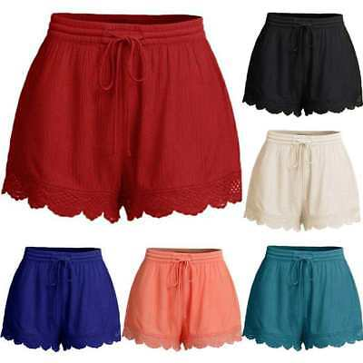 Womens Ladies Elastic Waist Drawstring Lace Hem Beach Shorts Hot Pants Plus Size