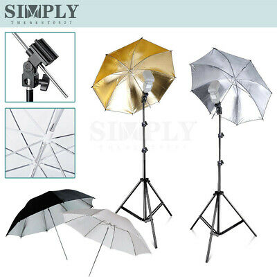 Photo Studio Umbrella Lighting Light Stand Kit Flash Speedlight Holder Bracket