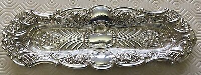 Victorian Hallmarked Silver Embossed And Pierced Pen / Pin / Dressing Table Tray