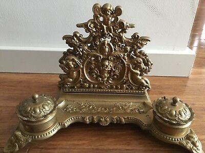 Antique French Brass Inkwell With Cherubs