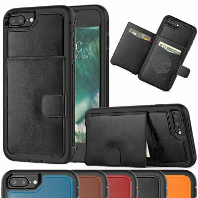 For Apple iPhone 7 8 6s 6 Plus Shockproof Rugged Leather Wallet Card Case Cover