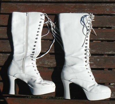 Ladies Mens 1970s Pair White Platform Boots Fancy Dress Glam Rock Size 7