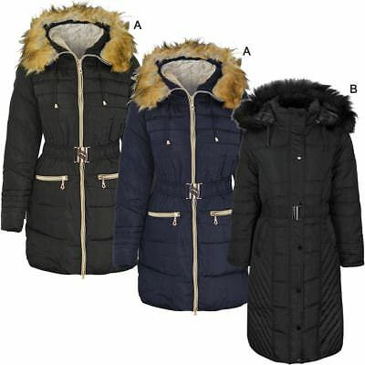 Womens Ladies Warm Winter Coat Long Sleeve Hooded Thick Quilted Zip Up Size