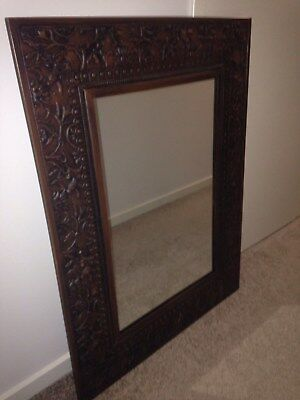 Antique Style Wall Mirror Bronze Frame Used Ec