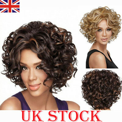 UK Women Bob Short Curly Wavy Afro African American Wigs Hair Blonde Brown Lady