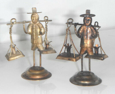 Vintage Antique Chinese White Metal Silver Basket Scales Carrier Figures