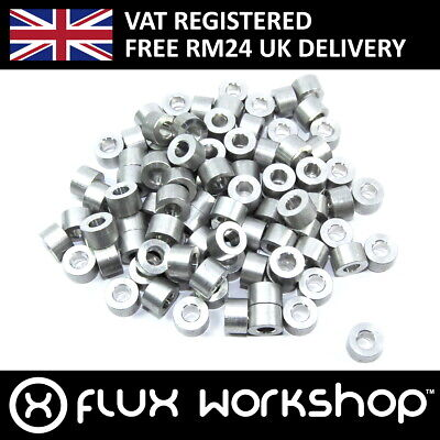 100pcs 5x10x6.4mm Aluminium Spacer CNC Mounting Coupling Flux Workshop