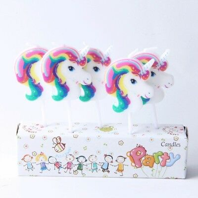 5 x Unicorn Candles Happy Birthday Cake Toppers Party
