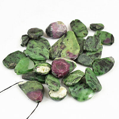 Exclusive 346.50 Carats Natural Untreated Ruby Zoisite Faceted Drilled Beads Lot