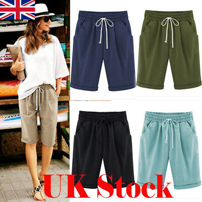 UK Womens Linen Summer Casual Shorts Ladies Holiday Plus Size Midi Pants 6-22