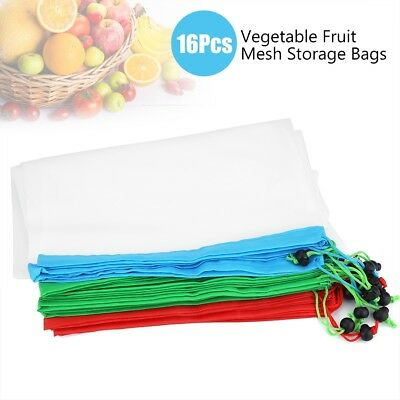 NEW 16 Pack Reusable Produce Bags Mesh Vegetable Fruit Toys Storage Pouch Bag