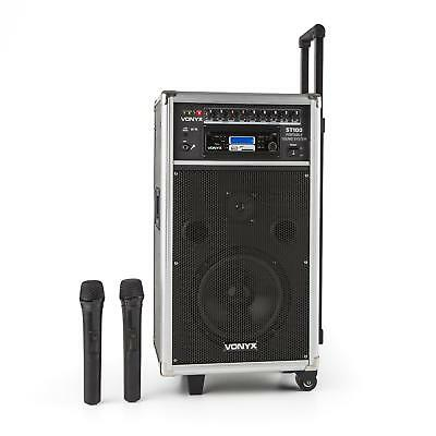 Vonyx ST-100 MK2 mobiel PA-audiosysteem Bluetooth CD USB SD MP3 Accu UHF