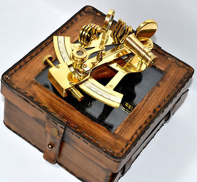 BRASS VINTAGE SEXTANT WITH TRAVELLING WOODEN BOX W/ COMPASS Maritime DECOR