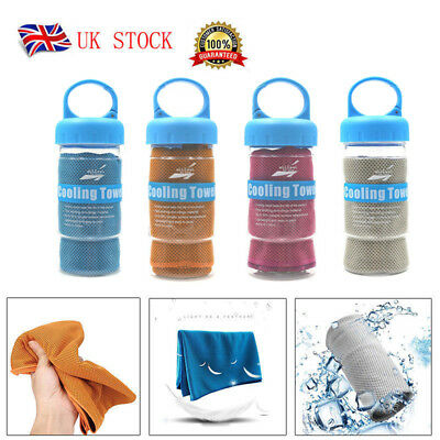 Instant Cooling Towel ICE Cold Golf Cycling Jogging Gym Sports Outdoor Chilly UK