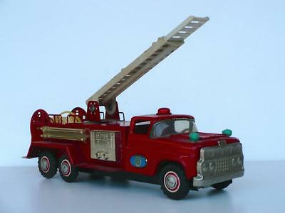 """Orig LARGE 12"""" 1960's FORD Tin Toy Fire Engine Truck Friction Japan SAN Marusan"""