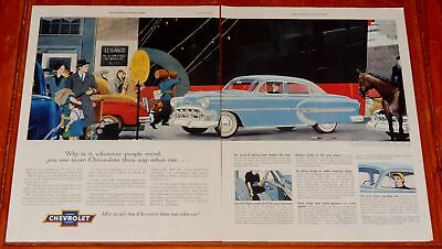 Sweet 1953 Chevy Bel Air 4 Dr Sedan & Ship Horse Taxi Large Ad - Vintage 50S