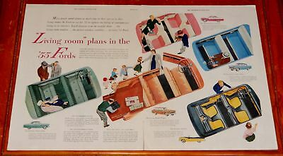 1955 Ford Interiors Fairlane Sunliner Customline Large Ad / Vintage 50S Fifties