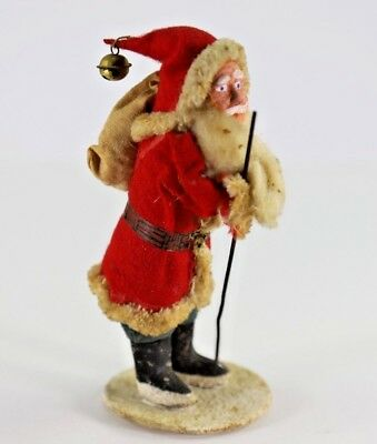 Vintage Japanese Clay Face Santa Claus Standing Christmas Figure Backpack Bell