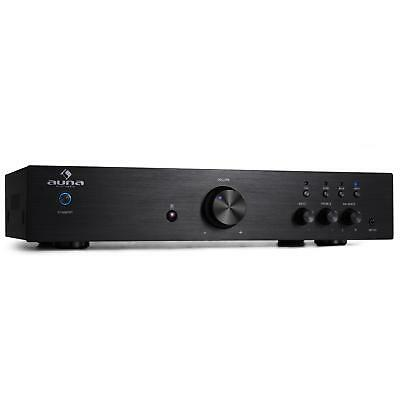 Hifi Versterker Auna 2-Band Equalizer Edelstaal Stereo Receiver Aux In 125W Rms