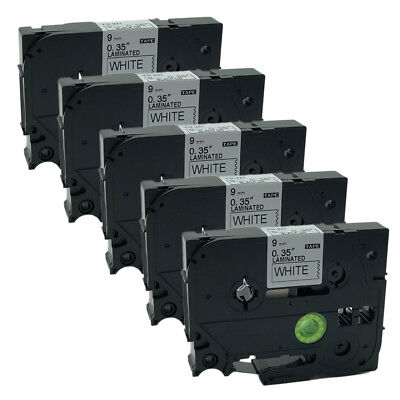 5PK Black on White Label Tape Compatible for Brother TZ TZe 221 TZe-221 9mm  8m