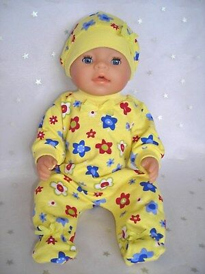 "Dolls clothes for 17"" Baby Born doll~LEMON JUMPSUIT~RED~BLUE~WHITE FLOWERS~HAT"