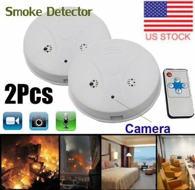 2X Smoke Detector Fire Alarm Camera HD Spy Recorder Battery Home Survillence ZQ