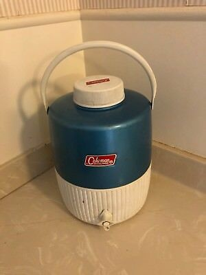 Vintage COLEMAN THERMOS Blue Metal Top 2 Gallon Large Water Jug Camp No Leaks