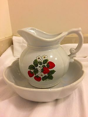 Vintage Mccoy Strawberry Pitcher And Bowl Set