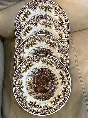The Victorian English Pottery Turkey 4 Thanksgiving Dinner Plates Dishes