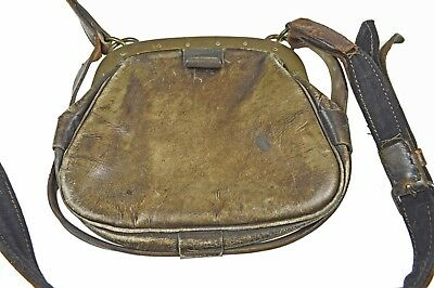Antique Leather and Brass Tradesman 3 Compartment Money Bag. Dutch.